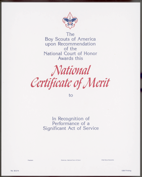 Life saving meritorious action awards sam houston area note if the action is deserving of merit but does not qualify for a national award the scout may be eligible for the local council certificate of merit yelopaper Choice Image