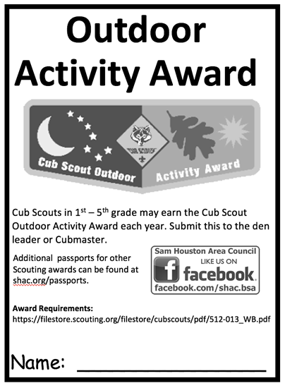 photo about Cub Scout Outdoor Code Printable named Pports Sam Houston Place Council