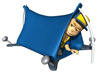 cub scout in a tent graphic
